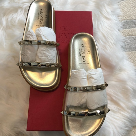 Valentino Shoes - Valentino Clear PVC Rockstud Slide